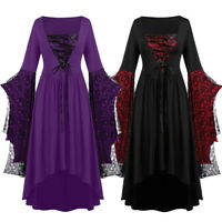 Women Plus Size Gothic Patchwork Skull Lace Bandage Bell Sleeve Party Dresses US