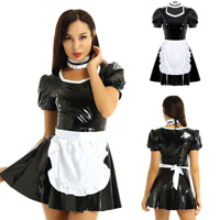 Women Adult French Maid Cosplay Costume Apron Outfit A-line Patent Leather Dress