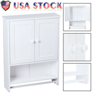 Wall Mount Bathroom Cabinet Medicine Storage Shelf Holder Kitchen Organizer Rack