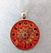 "ORANGE ZODIAC   1""glass pendant necklace handmade silver plated 20 ""chain reiki"