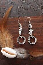 Lovely Handmade White Howlite Bead &Silver Tibetan Circle Flower Dangle Earrings