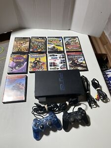PlayStation 2 PS2 Bundle, 2 Controllers, 9 Games, Memory Card - TESTED