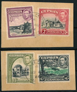 CYPRUS 1944, NICE LOT OF 4 DIFFERENT VALUES ON 2 FRAGMENTS.    #M622