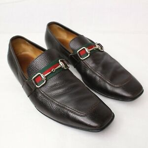 Vintage 80's Gucci Men's Brown Leather Horsebit Loafers Shoes Size 11D Medium