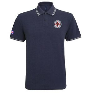 Men's Northern Soul Union Jack Tipped Polo Shirt With Embroidered Fist Logo.