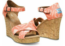 NEW Authentic TOMS Orange Geometric Ikat Strappy Wedges, Women Size 10