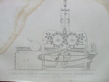 ANTIQUE PRINT 1854 FLAX SECTION OF PLUMMER'S DOUBLE CYLINDER HECKLING MACHINE