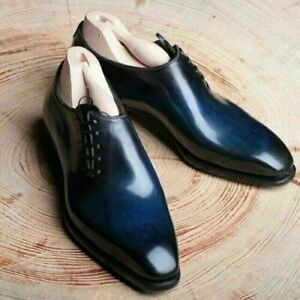Elegant Handmade Men's Oxford Leather Blue Lace Up Shoes, Trendy Fashion Shoes
