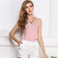 Ladies Casual Lace Tank Tops Short Sleeveless T-shirt Vest Summer Blouse Chiffon