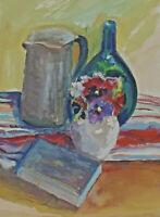 Signiert M. Hammerl - Stillleben mit Vase Krug Gefäß und Buch