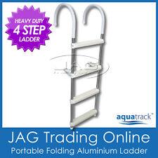 4 STEP HEAVY DUTY ALUMINIUM FOLDING BOAT BOARDING LADDER - Marine/Yacht/Gunwale