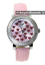 diamond ladies pink hearts silver dress watch ice out master pink leather maxx