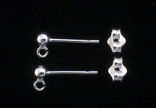 1 Pair of Sterling Silver Ear Studs & Scrolls, findings for jewellery making
