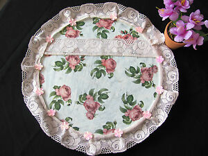 HANDMADE ROMANTIC DECORATIVE GLASS PLATE ACRYL MULTI COLOR LACE + FLOWERS GIFT
