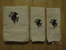 New Black Bear Cub in Pine Tree 3 piece towel set, Cabin decor Pearl Color