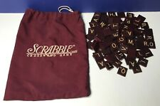 100 Deluxe Edition Scrabble Letter Tiles Maroon White Letters w/ Bag Circa 99'