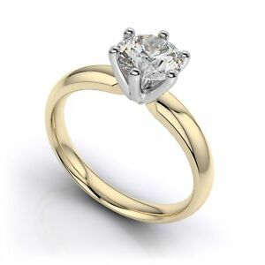 2CT Low Dome 6 Prong Round Brilliant Solitaire Engagement Ring 9K Yellow Gold