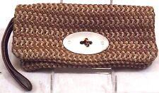 GAP Women's Wallet Wristlet Brown Olefin Shell Leather Trim & Strap Large Clutch