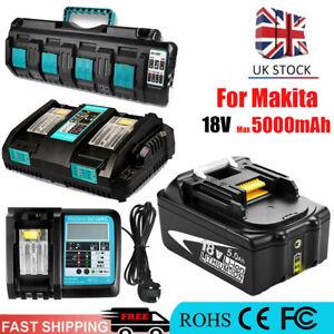5000mAh Battery for Makita BL1850B BL1815 Cordless LXT Fast Charger 18V 1.5-4Ah