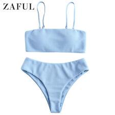 ZAFUL 2-Piece Women's Solid Textured Padded Bandeau Bikini Set Bathing Swimsuit