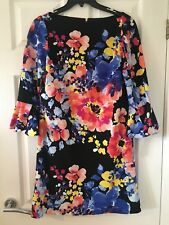 TAHARI BY ASL BELL-SLEEVE FLORAL SCUBA CREPE SHIFT DRESS SIZE 6 NEW WITH TAGS