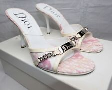 CHRISTIAN DIOR heels shoes pink white monogram leather 36 23cm open toe