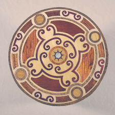 "Complex All Natural Wood Marquetry Inlay Coffee Coaster 3-1/2"" (C-18)"