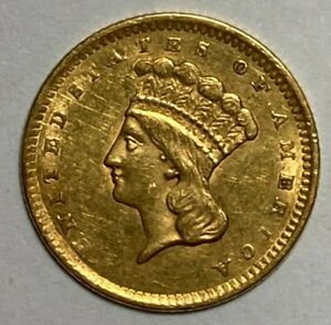 1856 Slant 5 Almost UNC AU Indian One Gold Dollar US $1
