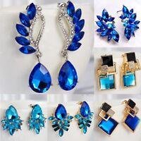 Women Blue Wing Flower Crystal Rhinestone Drop Dangle Stud Earrings Elegant Gift