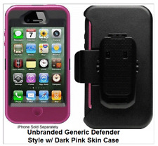 Pink iPhone 4 4S Case Cover Screen Protector (Fits Otterbox Defender Belt Clip)
