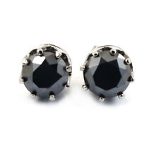 3.5Cts Round Brilliant Cut Black Diamond Solitaire Studs,Certified