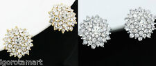 Crystal Ear Clip On Earrings Bridal Wedding Prom Leverback Pave Pair
