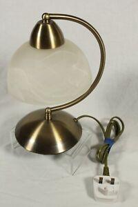 DAR Lighting Table Lamp Brushed Metal Smoked Glass Shade Touch Sensor Light