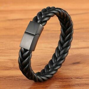 Classic Style New year Gift 6 Options Stainless Steel Leather Men's Bracelet Mul