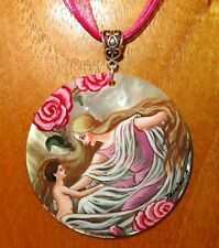 Hand painted SHELL pendant Frank C. Papé Rose & Child The Story Without An End