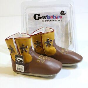 Roper Baby Boy Leather Cowboy Boots Size 12-18 Months L Deputy Sheriff