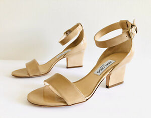 Jimmy Choo Edina 65mm Nude Patent Ankle Strap Open Toe Sandals. Size 39.5