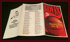 1978-79 ATLANTA HAWKS BRAVES TICKET INFO BASKETBALL POCKET SCHEDULE FREE SHIP