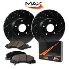 2009 Fits Kia Spectra 5 Black Slot Drill Rotor w/Ceramic Pads F