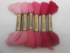 Paternayan / Paterna Tapestry 100% wool 8 yd / 7.4m Pack of 6 Pinks