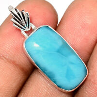 Genuine Larimar - Dominican Republic 925 Sterling Silver Pendant Jewelry AP99350