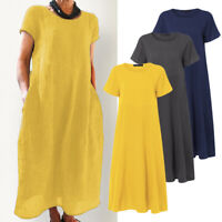ZANZEA Women Summer Short Sleeve Sundress Kaftan Plain Plus Size Long Midi Dress