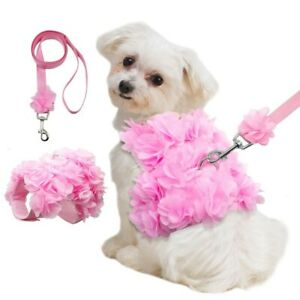 Pet Small Girl Dog Puppy Breathable Harness Leash Sets Pink Flower Puppy Vest
