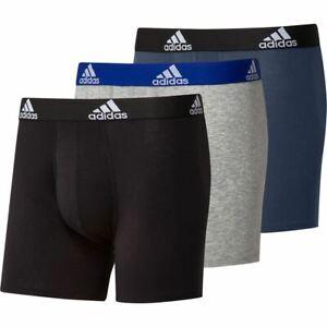 Adidas Men's Logo Boxer Briefs 3 Pairs - Black/Grey/Navy