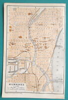 "MILWAUKEE Wisconsin City Town Plan - 1909 MAP Baedeker 4 x 6"" (10 x 15,5 cm)"
