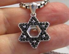 DAVID YURMAN Large Sterling Silver 14k Gold Black Diamond Star of David Necklace
