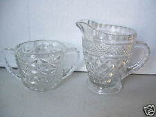 Vintage Clear Crystal Glass No Lid Sugar Bowl  & Creamer Set Unmatched