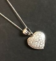 Designer 9ct White Gold Diamond Pendant 0.50ct Heart Charm Necklace