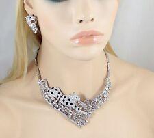 Big Cat Jaguar Austrian Rhinestones Crystal Bib Necklace Earrings Set Paty N930b