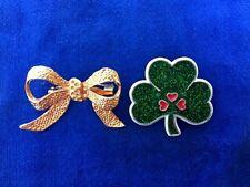 Lucky Shamrock Brooch Pin Set Lot 2 Antique Gold Bow & Cloisonne St Patricks Day
